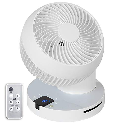 iimono117 サーキュレーター 24畳 360度回転 自動首振り DCモーター搭載 タッチパネル 最新モデル リモコン タイマー 付 / 静音 真上 送風機 扇風機 部屋干し 洗濯 (ホワイト)