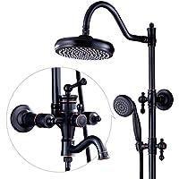 ウォールマウントシャワーヘッドシステム - シャワーとハンドヘルドのフルレインシャワーセット、最適なリラクゼーションとスパのための調節可能なシャワーブラケットブラック