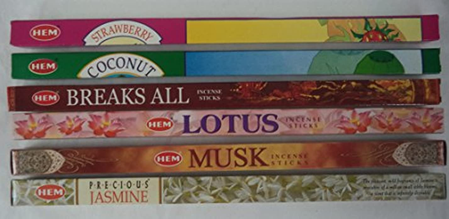 自明短命ライトニングHemお香Best Seller # 6セット: 6ボックスX 8スティック、合計48 Sticks