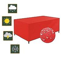 GHHQQZ ガーデン家具ガーデンソファカバー テーブルクロス ターポリン ラウンジチェア 防水 日焼け止め 防塵 保護マスク ファブリックラタンカバー、赤、 カスタマイズ可能 (Color : Red, Size : 300x260x100cm)