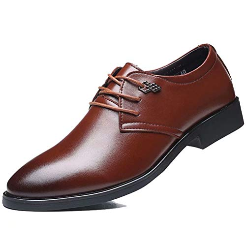 [Visionreast] ビジネスシューズ メンズ 軽量 革靴 カジュアル ポインテッドシューズ クッション性 防滑 レースアップシューズ 快適 撥水アッパー 通気性 ウオーキングシューズ 屈曲性 ブラウン 24.0cm