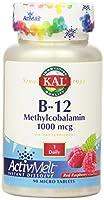 Kal - B12 Methylcobalamin ActivMeltの赤いラズベリー 1000 mcg。90錠剤