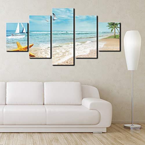 14271LMビーチシーサイドリゾートの壁アートプリントキャンバス絵画パーソナライズ装飾リビングルーム(カラフル)