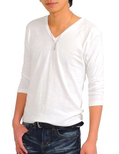 (スペイド) SPADE 七分袖Tシャツ メンズ Vネック Uネック Tシャツ 七分丈 無地 【q922】 (M, V×ホワイト)