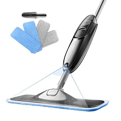 モップ 拭き掃除 モップ スプレー 床掃除 フロアモップ 乾湿両用可 床を保護 抗菌 消毒 360° 回転モップ 交換用マイクロファイバー クロス 4枚付き 丸洗い可能 収納に便利 フローリング タイルに最適