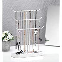 JackCubeDesign Metal 3 Tier Jewelry Display Stand Tree Organizer Bracelet Necklace Holder Rack Hanger Tower with Earring Ring Tray Storage Tabletop(White, 12.1 x 4.1 x 16.1 inches) – :MK320F