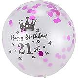 TOOGOO 5ピース、12インチ 紙吹雪風船 ラテックス ローズレッド 誕生日用風船 21歳 周年記念日、結婚式、パーティーの装飾