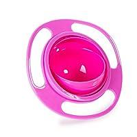 幸せな 赤ちゃん?幼児?ベビー 食器 ジャイロ ボウル 360°回転可能 零れない 食事練習 ふた付き 食洗機対応 便利 実用的 全3色 (ピンク)