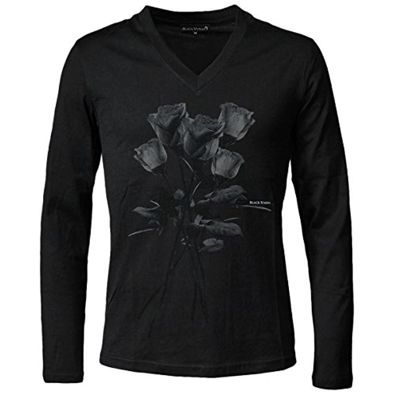 マーガレットミッチェル枯渇無限大(ブラックバリア) BLACK VARIA 薔薇 バラ柄 花柄 Vネック 長袖 プリント Tシャツ ブラックグレー zkk025ls