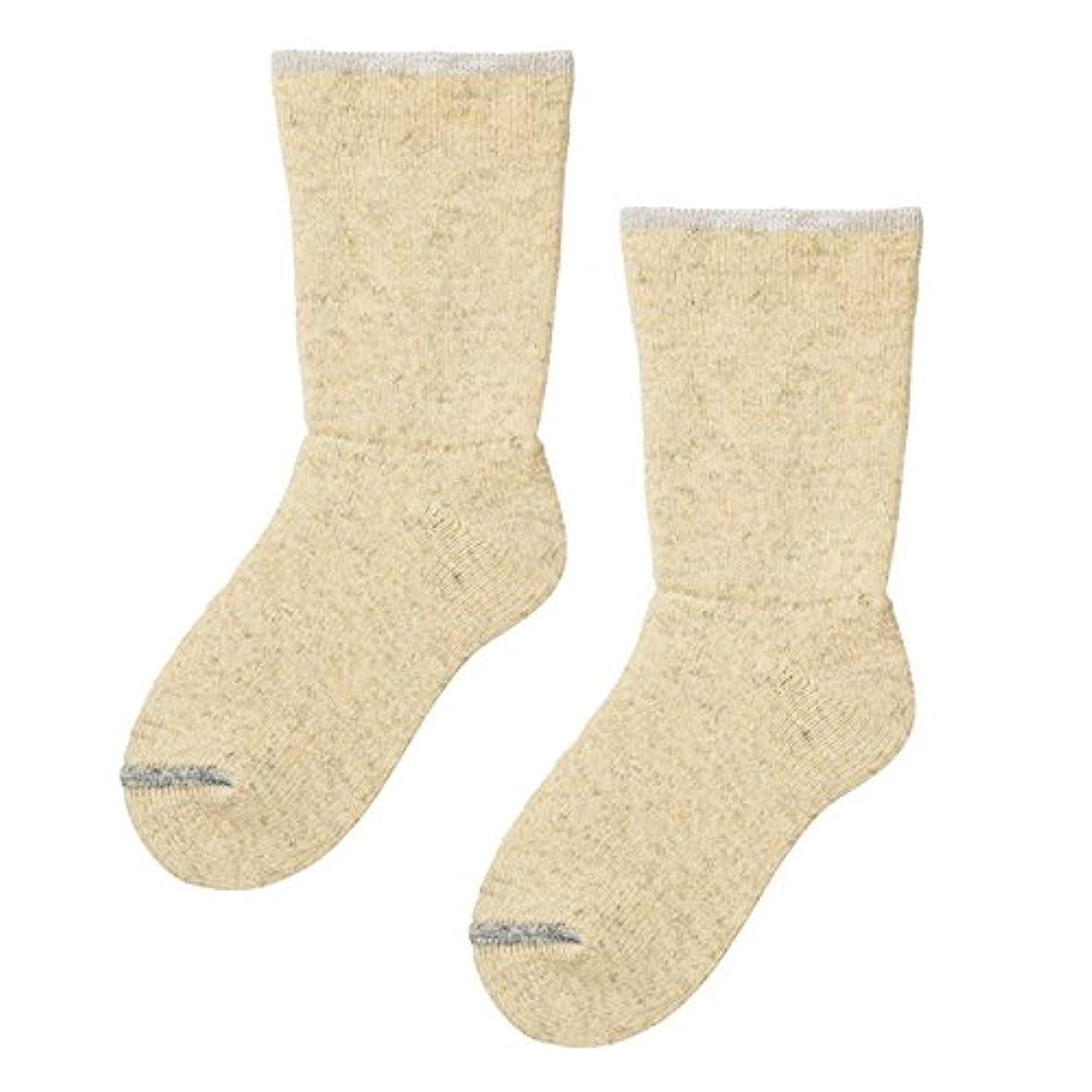 フィードバック傾く四砂山靴下 Carelance(ケアランス) お風呂上りの靴下 二重編み 8590CA-80 ベージュ