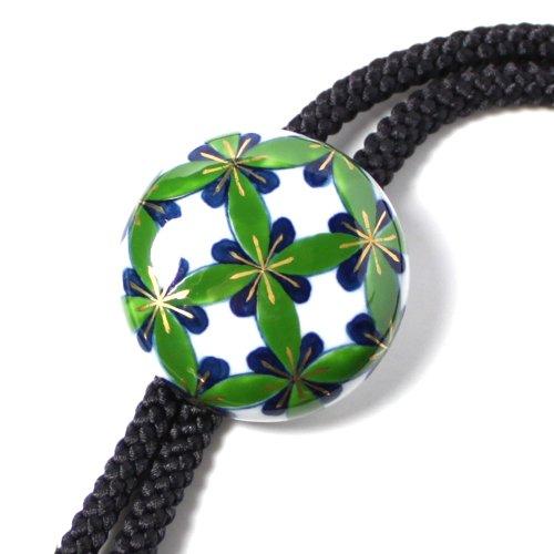 伊万里焼 陶芸 アクセサリー ループタイ メンズ 七宝花紋  グリーン 正絹黒紐