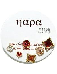 [ナパ]napa 色、形、大きさ色々カラフルラインストーンピアス6点セット サージカルステンレス製ポストで低金属アレルギーで安心カラー02