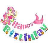 Palksky マーメイド ハッピーバースデー バナー ガーランド パーティー デコレーション サプライ 女の子 子供 誕生日 ベビーシャワー 海の中 パーティー 装飾