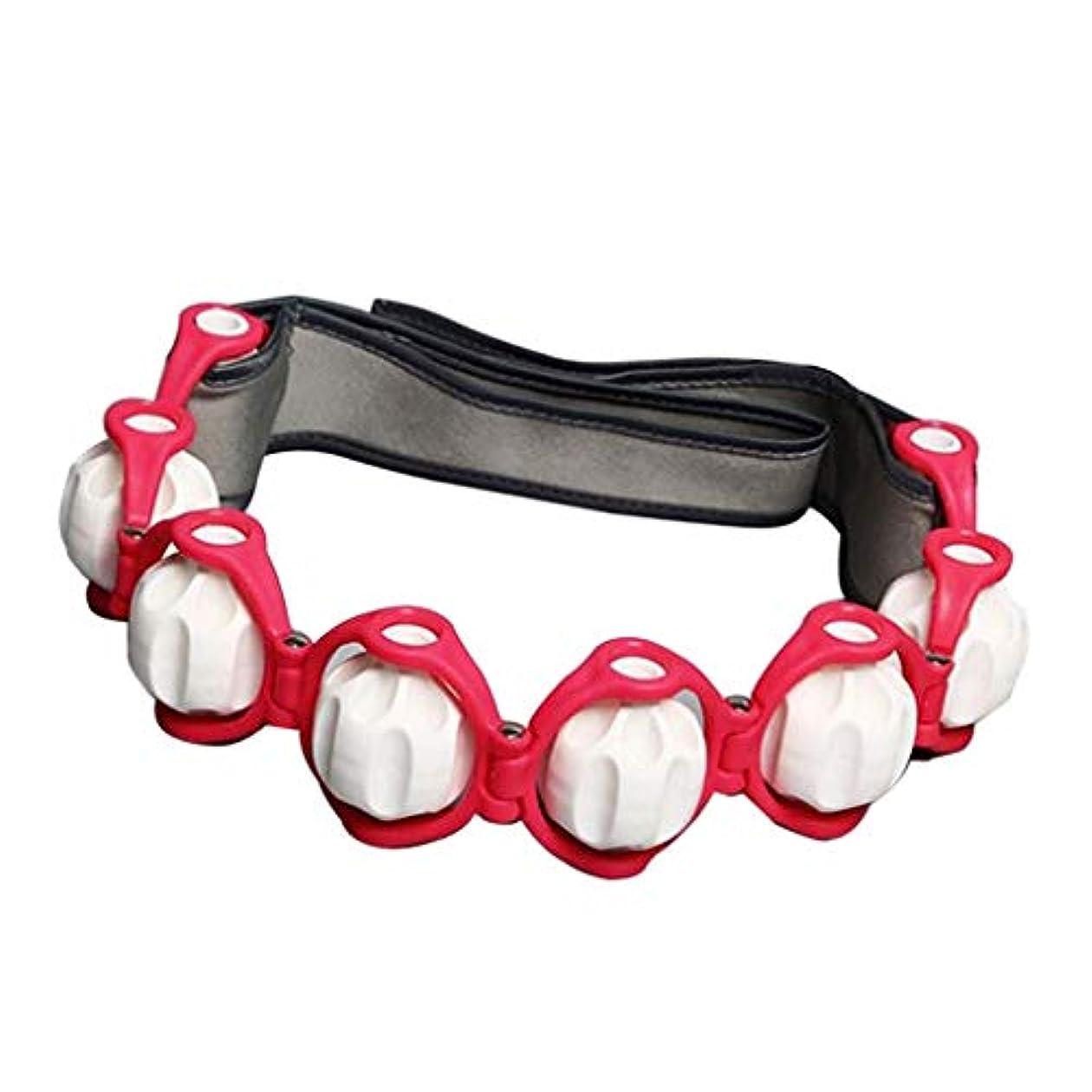 経度罰する含むマッサージローラー ロープ付き ネック ショルダー ツボ押し マッサージボール 4色選べ - 赤, 説明したように