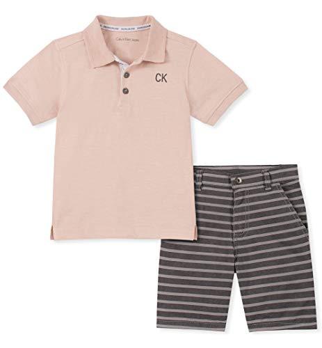 Calvin Klein Baby Boys 2 Pieces Polo Shorts Set, Gray, 12M
