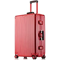 IRVING Scratchproof Aluminum Frame Trolley Case Universal Wheel Suitcase Male and Female Students Password Lock Suitcase (Color : Red, Size : 22 inch)