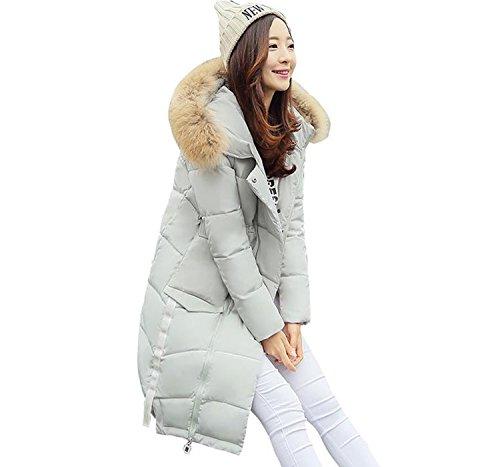 GuDeKeレディース 冬 ロング ダウン コート 大きいサイズ ダウン ジャケット 中綿 防寒 上品 ファーフード 付き 中綿 ダウン コート 修身 ひざコート 韓国