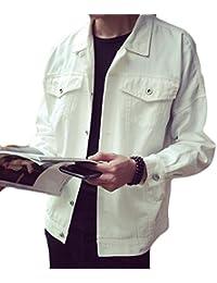 Fly Year-JP メンズ?カジュアルシングルブレストラペル長袖ソリッドカラーの薄いジャケット