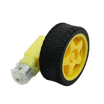 uxcell DCギヤードモータ 直流電動機 DC電動機 二重軸 50RPM DC 3V +タイヤホイール スマート車用