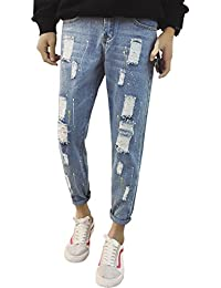 (ゆうや)YoYeah メンズ デニムスキニー スリムジーンズ ダメージ カジュアルストレート ファッション シリーズ メンズ 夏 ストレート ジーンズ ロングパンツ
