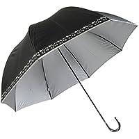 Lサイズ 晴雨兼用 日傘 UVカット 紫外線遮蔽率99% 生地裏シルバーコーティング 蔦花柄 かわいいドーム型(深張仕様) 60cm 手開き傘 (黒)