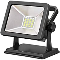 Lexu LED投光器 15W 超薄型 ポータブル投光器 登山 夜釣り LEDライト非常灯 防水集魚灯 看板灯 充電式LED作業灯 昼白色6500K コードレス 防水防塵 地震 防災対策 磁石 ブラック 5年間の保証