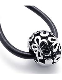 [テメゴ ジュエリー]TEMEGO Jewelry メンズステンレススチールヴィンテージペンダント彫刻ラッキーカバーネックレス、調節可能なシリコーン鎖[インポート]