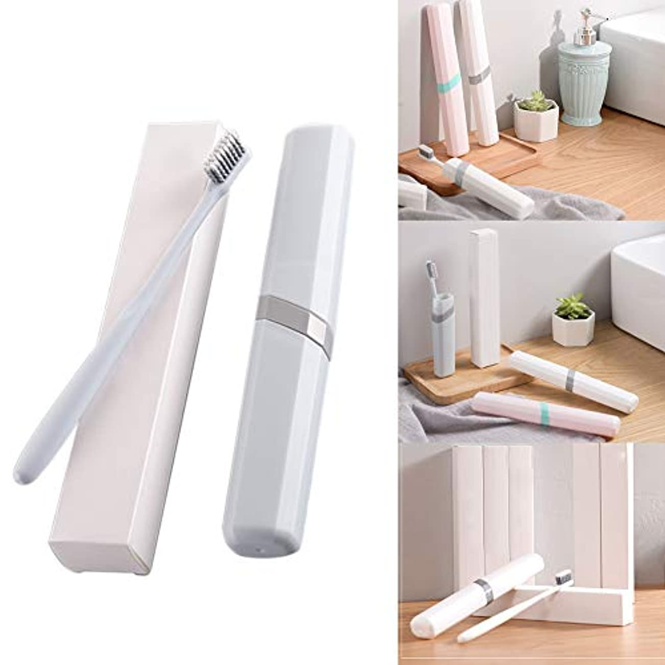 見込みペットレイプ歯ブラシケース付きトラベルカバー、歯ブラシ1個、プラスチックホルダー、清潔なブラシを休日に保管(白、ピンク、青)