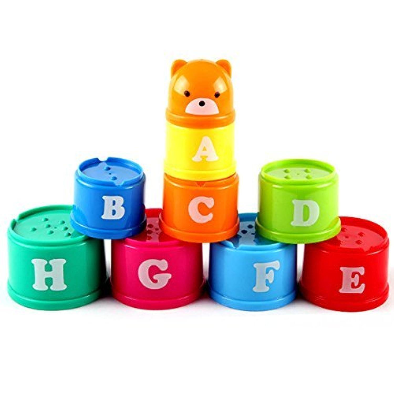YiGooood レインボー スタッキング&ネスティングカップ モンテッソーリおもちゃ 赤ちゃん組み立てセット 教育教育教育玩具 ABCキャラクターと数字付き
