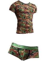Fenteer 下着セット 上下 メンズ Tシャツ ブリーフ パンツ Gストリング 迷彩 ロングライズ 半袖 緑 速乾 通気 伸縮 2タイプ選べ