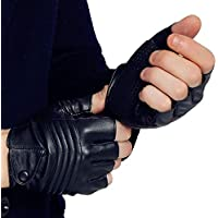 Long Keeper Fingerless PU Leather Driving Black Gloves for Men Motorcycle Biker Sport