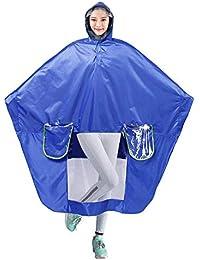 XIANRUI レインコート ポンチョ 自転車 バイク ロング 完全防水 通勤 通学 雨具 男女兼用 収納袋付き ブルー