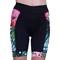 Women's Comfy Cycling Shorts Floral Print Stretch Padded Biking Pants