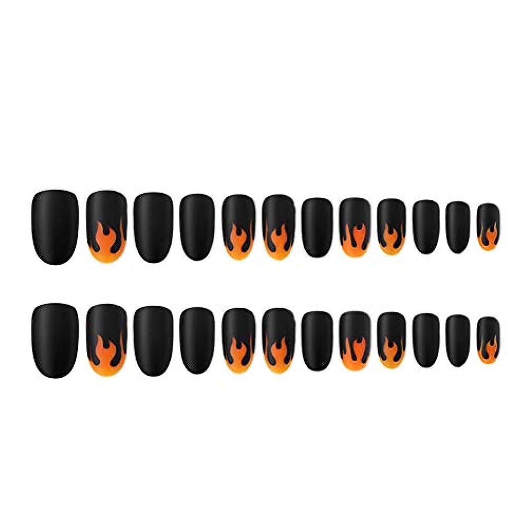 前述の名目上のブルゴーニュ人工爪のヒントの炎パターン塗装ネイルチップのフルカバーネイルのヒントネイル取り外し可能なマットな質感