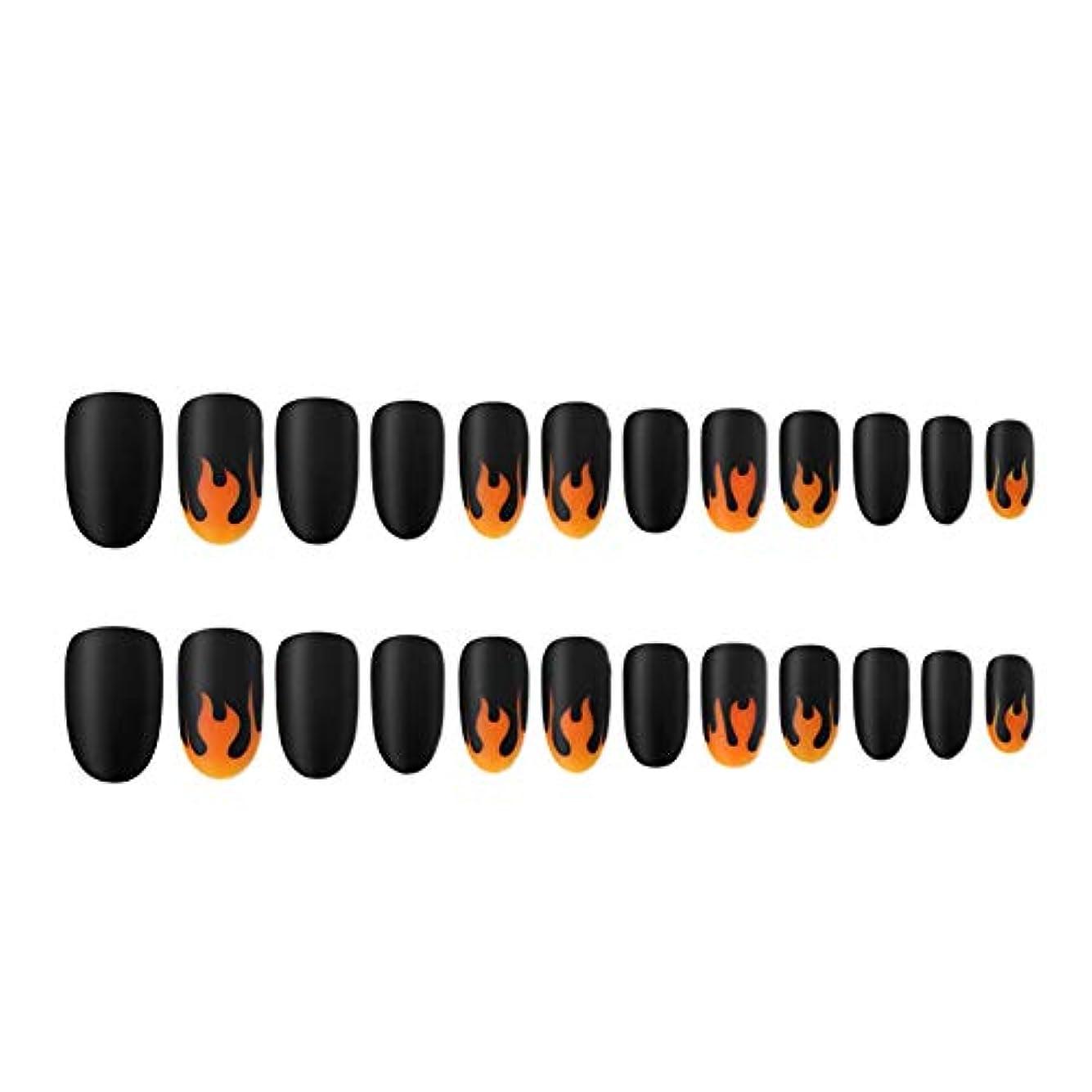 予感スーパークリップ人工爪のヒントの炎パターン塗装ネイルチップのフルカバーネイルのヒントネイル取り外し可能なマットな質感