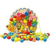 Blackfell ハリネズミ形状ウッドフルーツ野菜ビーズビルディングブロックビルディングスレッド玩具ユニバーサルキッズ知育玩具