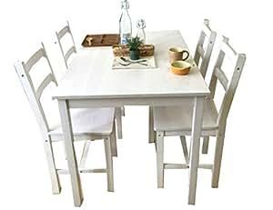 無垢 ダイニングテーブル幅110cm 4人用 ダイニングテーブル 5点セット北欧 木製 ダイニング5点セット ミンス (白)
