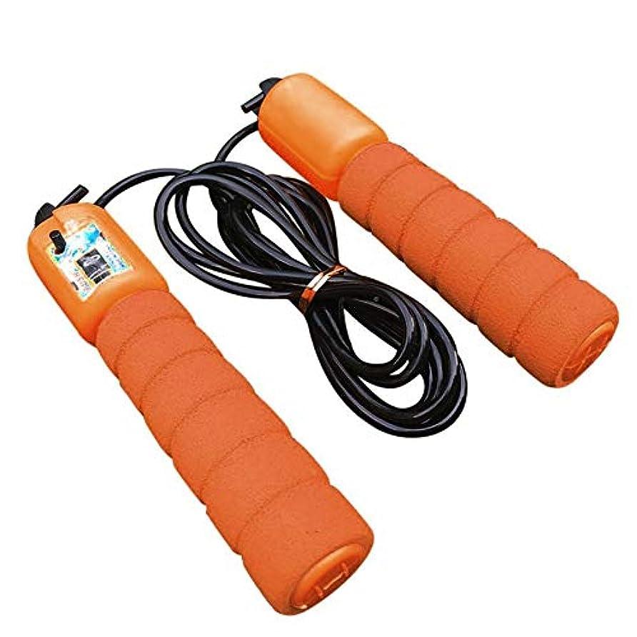 木製ジャム苛性調整可能なプロフェッショナルカウントスキップロープ自動カウントジャンプロープフィットネスエクササイズ高速スピードカウントジャンプロープ-オレンジ