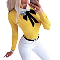 Beeatree Womens Trim-Fit Trendy Blouse Bow Crewneck Long Sleeve Tees Shirt Yellow M