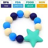 シリコンTeetherブレスレット食品グレードシリコンTeething Ring Baby Toys BPAフリー m ブルー