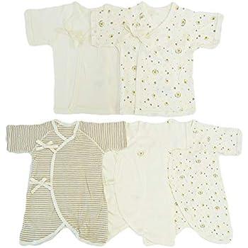 6e3610aa34c1e Skip House(スキップハウス) オーガニックコットン ベビー新生児 豪華5枚組 肌着セット  みつばち柄 RNB-16 (コンビ肌着 3枚  短肌着  2枚) 子供服 有機栽培綿100%
