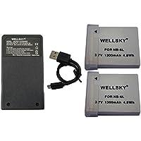 [WELLSKY] Canon キヤノン NB-6L / NB-6LH 互換バッテリー 2個 & 超軽量 USB 急速互換充電器 CB-2LY 1個 [ 3点セット ] [ 純正品と同じよう使用可能 残量表示可能 ] PowerShot SX510 HS / PowerShot SX170 IS / IXY 30S / PowerShot S95 / IXY 31S / IXY 32S / PowerShot SX260 HS PowerShot D20 / PowerShot SX280 HS / PowerShot S120 / PowerShot S200 / PowerShot SX530 HS / PowerShot SX710 HS / PowerShot SX610 HS