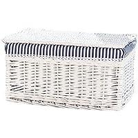 籐のスクエアランドリーバスケットコットンの三角のライニング汚れたハンパーの服雑貨の貯蔵バスケットホワイト (サイズ さいず : 44 * 31 * 24cm)