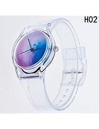 WangyueShop 新デザイン 人気 透明 ストラップ 腕時計 おしゃれ カラー ダイヤル 学生用 ウォッチ カップル 腕時計 H02