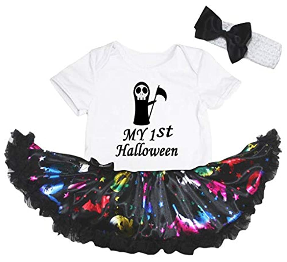 [キッズコーナー] ハロウィン My 1st Halloween Ghost ホワイト パンプキン 子供コスチューム、子供のチュチュ、ベビー服、女の子のワンピースドレス Nb-18m (ホワイト, X-Large) [並行輸入品]