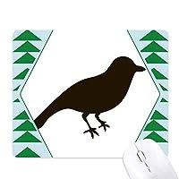 黒いスズメの動物の描写 オフィスグリーン松のゴムマウスパッド