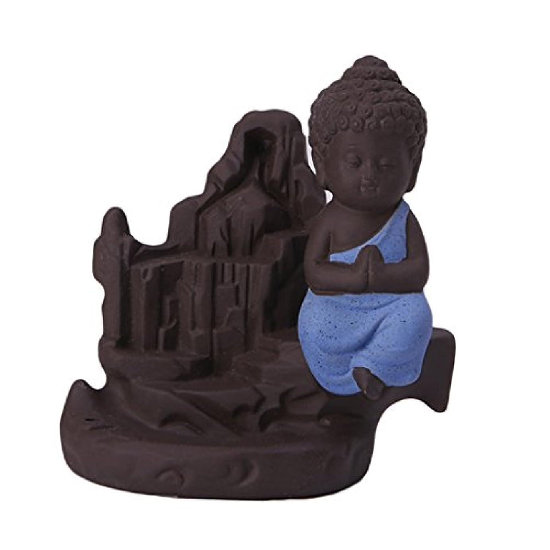 ブラザー愛情深い慎重にセラミック 仏 逆流コーン 香炉ホルダー 香バーナー 装飾的 3色選べる - ブルー