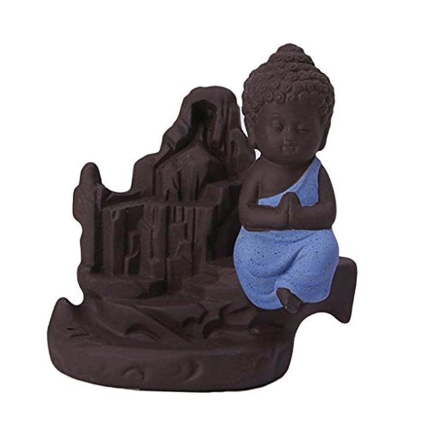 ブラケット子供時代仮定するセラミック 仏 逆流コーン 香炉ホルダー 香バーナー 装飾的 3色選べる - ブルー