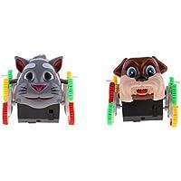 F Fityle 車おもちゃ 電動 360度回転 猫と犬の風格 子供 感覚器官 興味 知育玩具  2個 ギフト