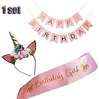 ユニコーン誕生日女の子のセットゴールドグリッターユニコーンヘッドバンドとピンクサテンサッシのガールズ、Happy BirthdayユニコーンパーティーSupplies